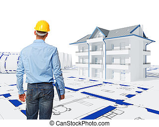 engineer at work - standing worker back view and 3d house