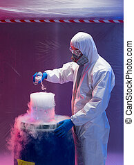 engineer blending steaming chemical substances