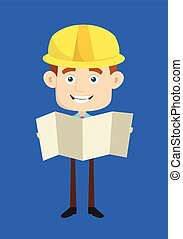 Engineer Builder Architect - Holding a Folded Paper Banner
