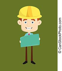 Engineer Builder Architect - Holding a Paper Banner