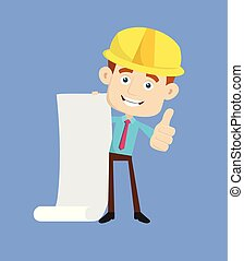 Engineer Builder Architect - Holding a Paper Scroll and Showing Thumbs Up