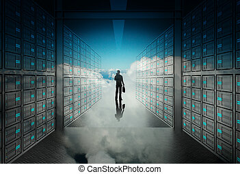engineer business man in 3d network server room and cloud inside as concept