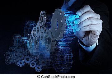 businessman hand draws gear to success - engineer ...