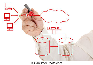 Engineer drawing an computer network diagram