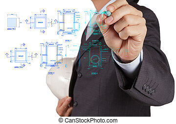 engineer drawing main hole sanitary diagram on virtual board