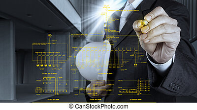 engineer draws an electronic single line and fire alarm riser schematic diagram