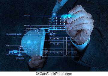 engineer draws an electronic single line and fire alarm...