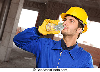 Engineer Drinking Water, Indoors