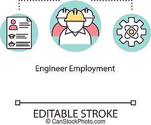 Engineer employment concept icon. Working on water vessel maintenance. Offshore vacancy in ship crew idea thin line illustration. Vector isolated outline RGB color drawing. Editable stroke