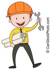 Engineer - Close up engineer holding tool and blueprint