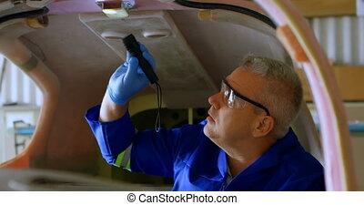 Engineer examining aircraft 4k