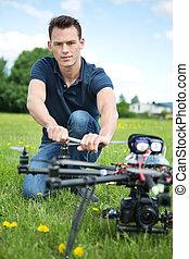 Engineer Fixing Propeller Of UAV Spy Drone