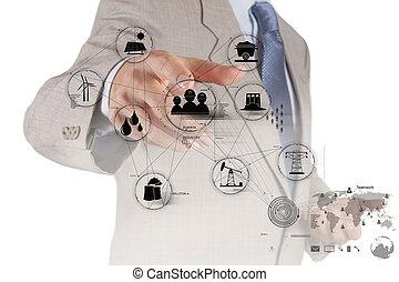 engineer hand works industry diagram on virtual computer as ...