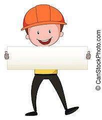 Engineer holding blank paper
