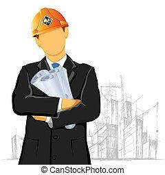 Engineer - illustration of engineer with blueprint on under...