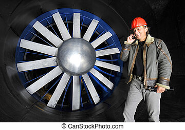 Engineer in a wind tunnel
