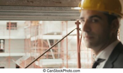 Engineer in construction site