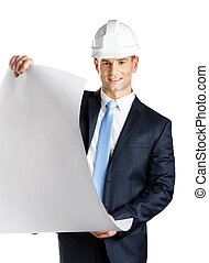 Engineer in hard hat hands blueprint, isolated on white....