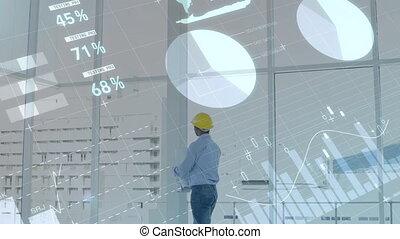 Engineer inside a white room