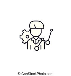 Engineer linear icon concept. Engineer line vector sign, symbol, illustration.