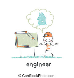 engineer looking at drawings and thinking about home