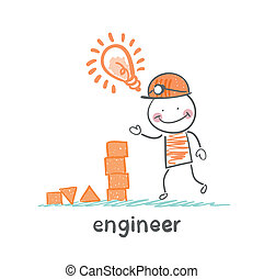 engineer looks at the children's blocks and has an idea