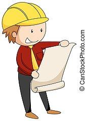 Engineer - Male engineer reading blue print