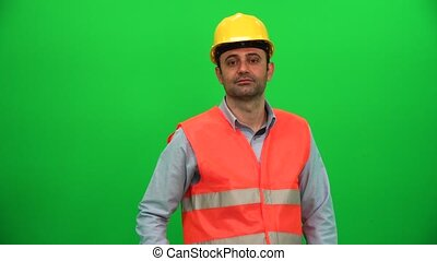 Engineer Man Touching Screen on Green Background