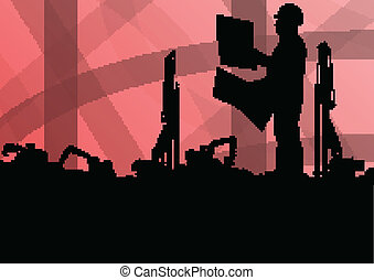 Engineer man with excavator loaders and tractors digging at industrial construction site vector background illustration