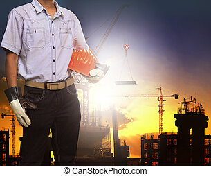 engineer man working with white saf