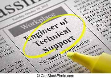 Engineer of Technical Support Vacancy in Newspaper. Job ...