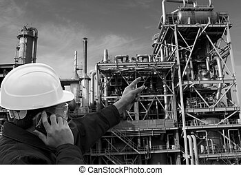 engineer oil refinery in black and white