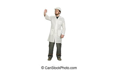 Engineer or architect taking a selfie showing gesture on white background.