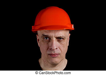 Engineer or manual worker man in safety hardhat