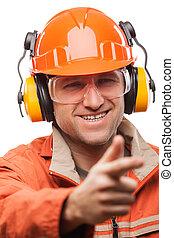 Engineer or manual worker man in safety hardhat helmet white iso