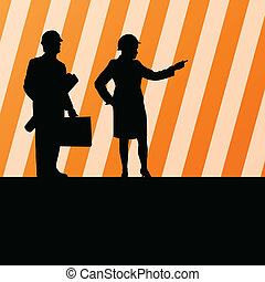 Engineer people detailed construction site worker silhouettes illustration collection background vector