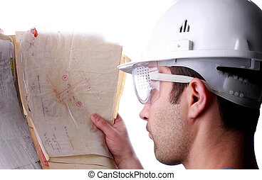 engineer - man with maps close up