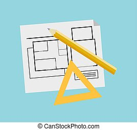 Engineer Plan for New Building Construction Vector