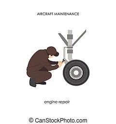 Engineer repairing aircraft landing gear. Repair and maintenance of airplane