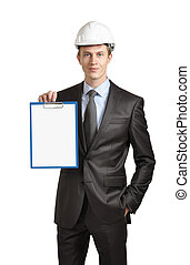 Engineer shows a clipboard