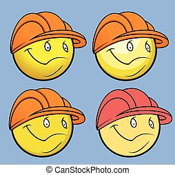Engineer Smiley Vector Set