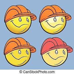 Engineer Smiley Vector Set
