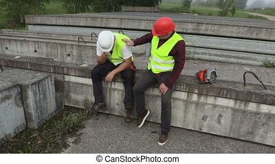 Engineer soothes crying worker