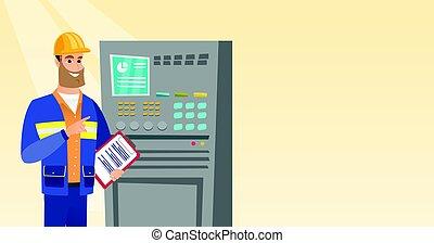 Engineer standing near control panel.
