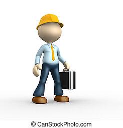 Engineer - 3d people - man, person - suggesting an engineer.