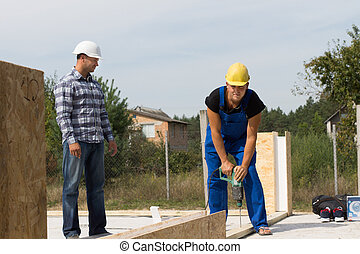 Engineer Supervising Construction Worker at Site