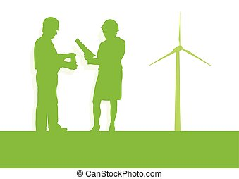Engineer technician green energy wind turbine power generator station background vector