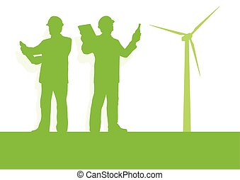 Engineer technician green energy wind turbine power generator station background vector