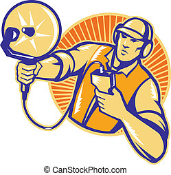 Engineer Technician With Ultrasound Sonar Dish - ...