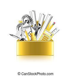 Engineer tools box isolated on white vector - Engineer tools...